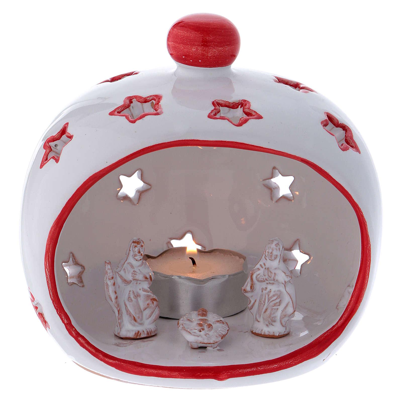 Portalumino ovale con Natività e finiture rosse in terracotta Deruta 3