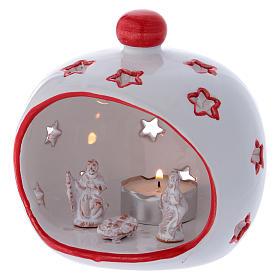 Portalumino ovale con Natività e finiture rosse in terracotta Deruta s2