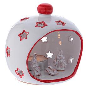 Portalumino ovale con Natività e finiture rosse in terracotta Deruta s3
