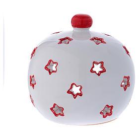 Portalumino ovale con Natività e finiture rosse in terracotta Deruta s4