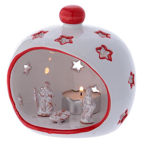 Portalumino ovale con Natività e finiture rosse in terracotta Deruta 2