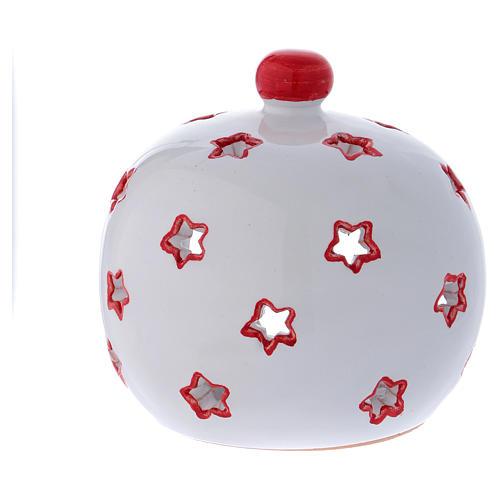 Portalumino ovale con Natività e finiture rosse in terracotta Deruta 4