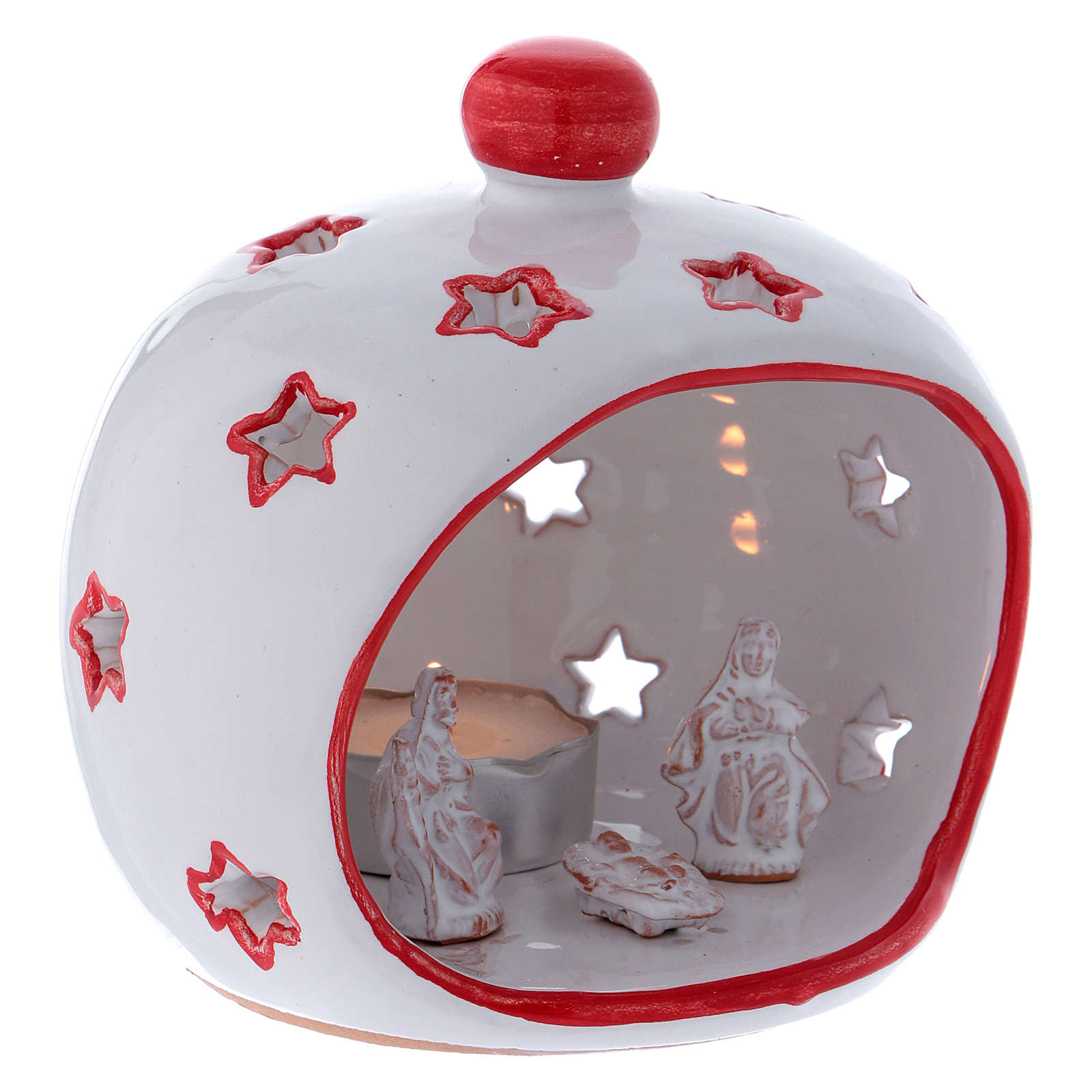 Oval Tealight Holder with Nativity and red finishing in terracotta Deruta 3