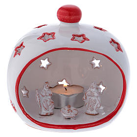 Oval Tealight Holder with Nativity and red finishing in terracotta Deruta s1