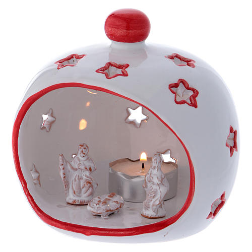 Oval Tealight Holder with Nativity and red finishing in terracotta Deruta 2