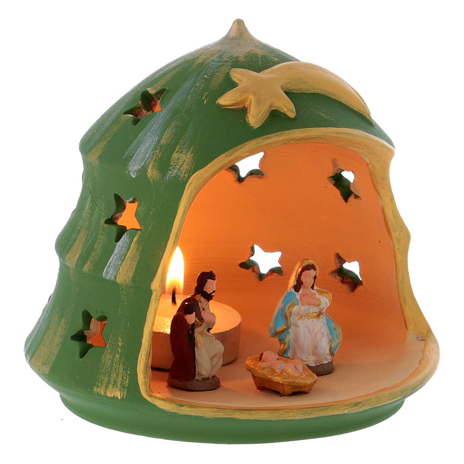 Christmas Tree candle holder with Holy Family in Deruta terracotta 3