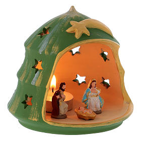 Christmas Tree candle holder with Holy Family in Deruta terracotta s3