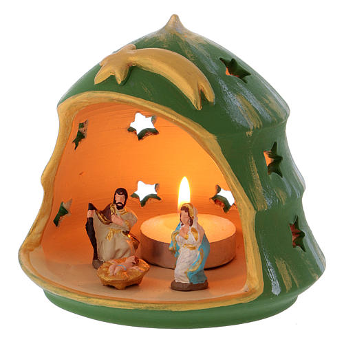 Christmas Tree candle holder with Holy Family in Deruta terracotta 2