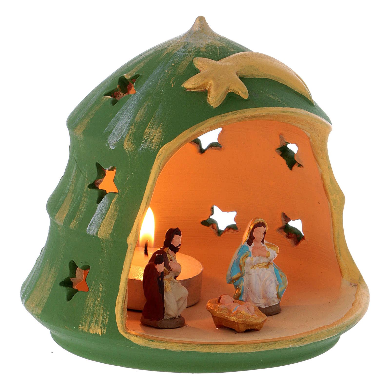 Portalumino Albero di Natale con Natività in terracotta Deruta 3