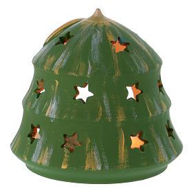 Portalumino Albero di Natale con Natività in terracotta Deruta s4