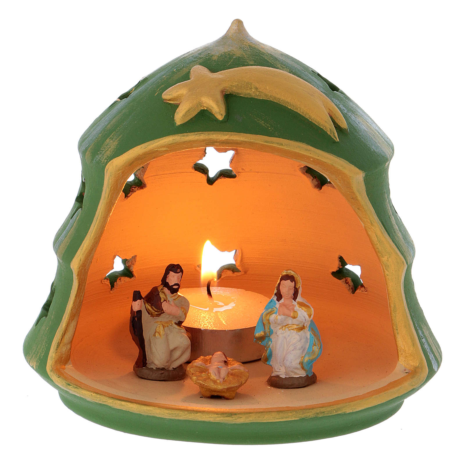 Christmas Tree Candle Holder With Nativity In Terracotta Deruta