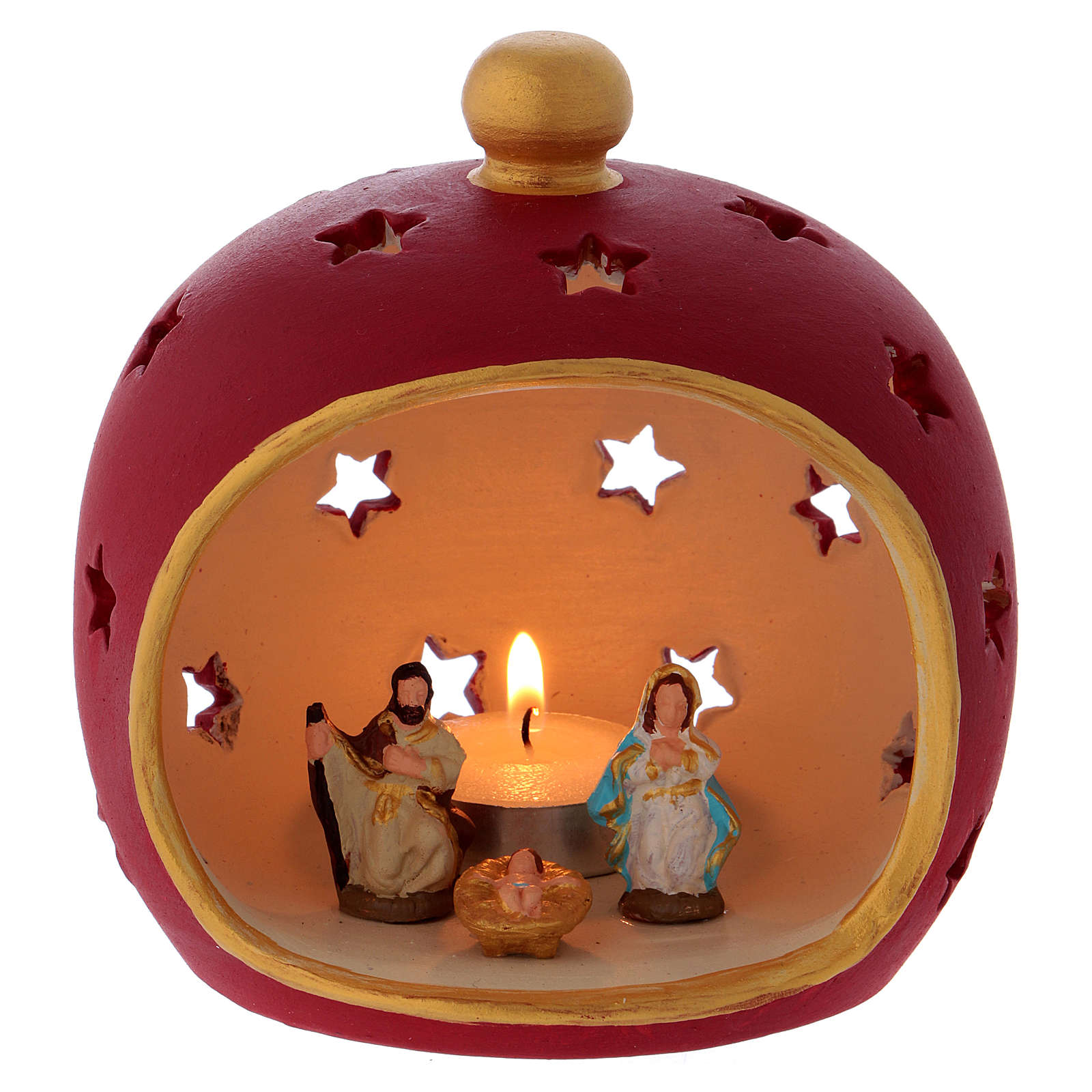 Red round candle holder with Holy Family in Deruta terracotta 3