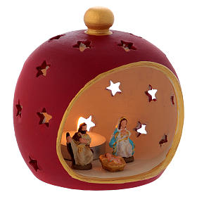 Red round candle holder with Holy Family in Deruta terracotta s3