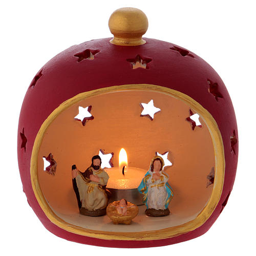 Red round candle holder with Holy Family in Deruta terracotta 1