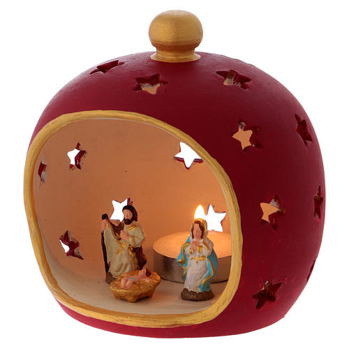 Red round candle holder with Holy Family in Deruta terracotta 2