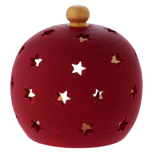 Round Bordeaux Candle Holder with Sacred Family in terracotta Deruta 4