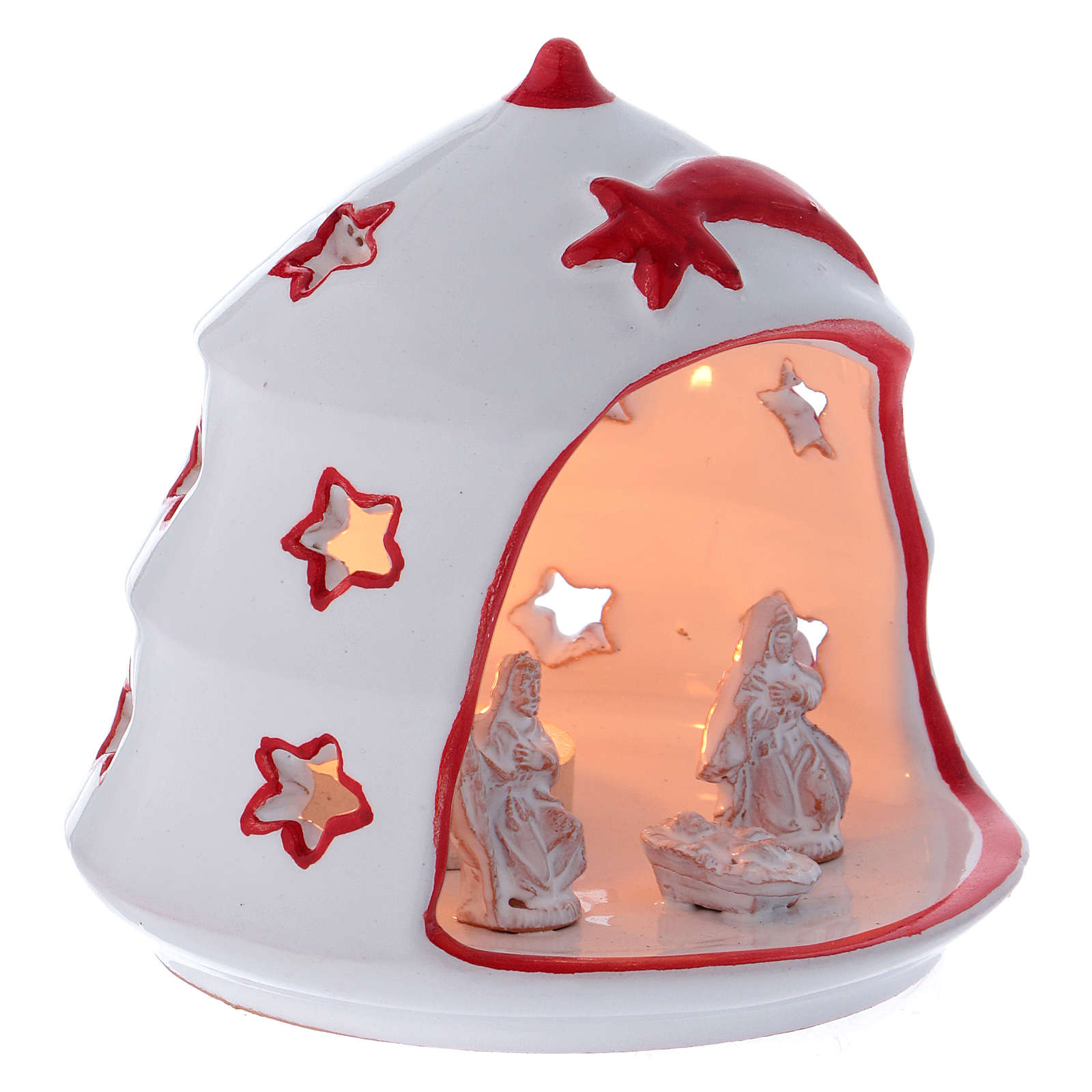 Christmas Tree candle holder with Nativity in Deruta terracotta 3
