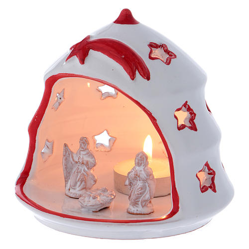 Christmas Tree candle holder with Nativity in Deruta terracotta 2