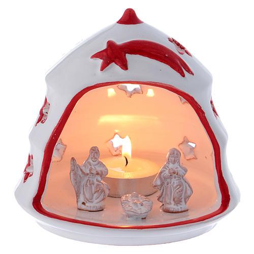 Árbol de navidad portavela con Sagrada Familia de terracota Deruta 1