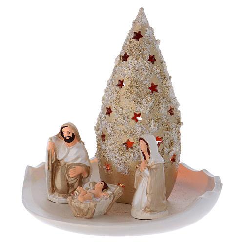 Árbol y Natividad sobre platillo de terracota Deruta 2