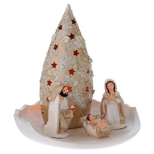 Árbol y Natividad sobre platillo de terracota Deruta 3
