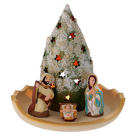 Presépio Terracota Deruta: Composição árvore nevado e Natividade em terracota Deruta