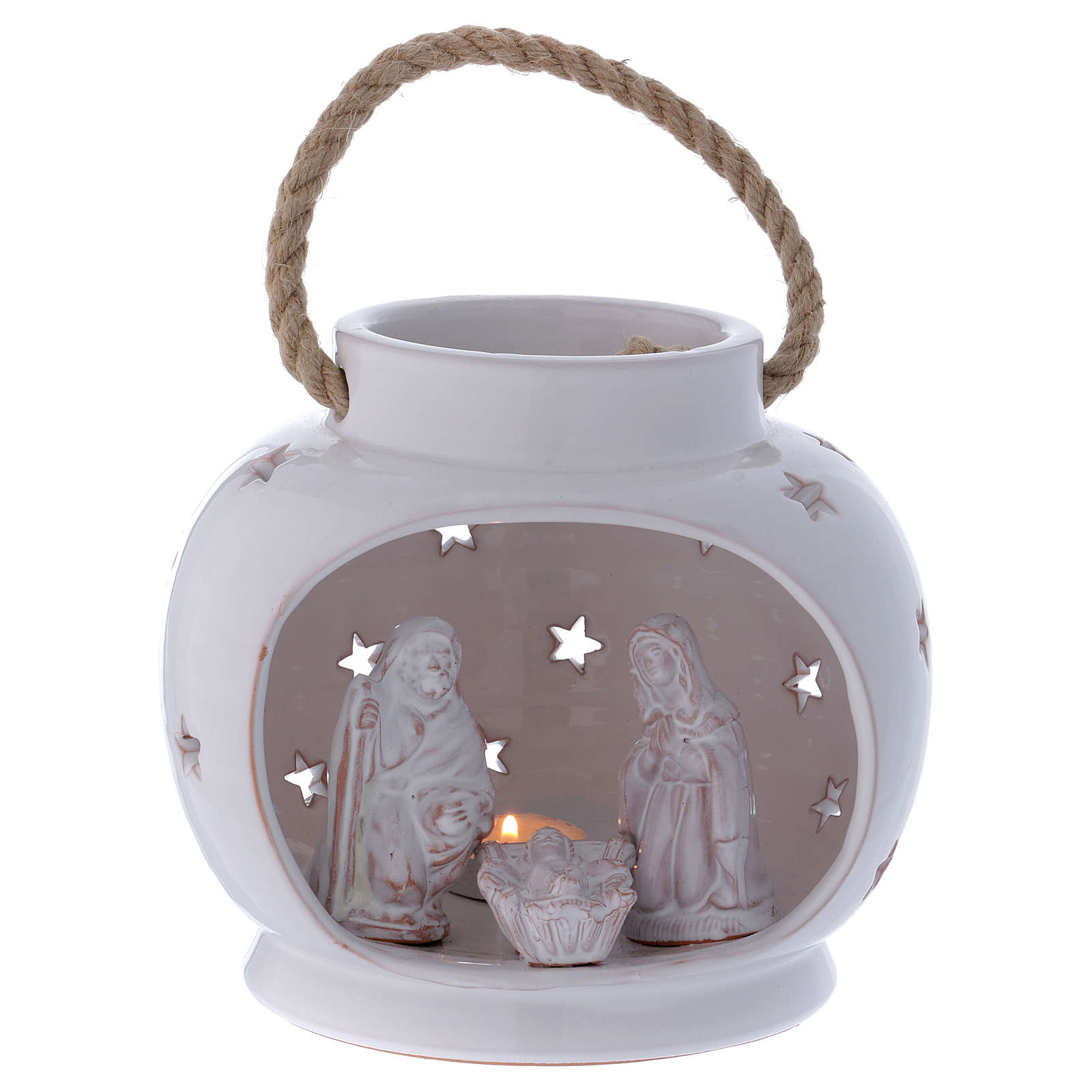 Glossy round white lantern with Holy Family in Deruta terracotta 4