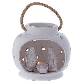 Glossy round white lantern with Holy Family in Deruta terracotta s1