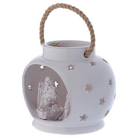 Glossy round white lantern with Holy Family in Deruta terracotta s2