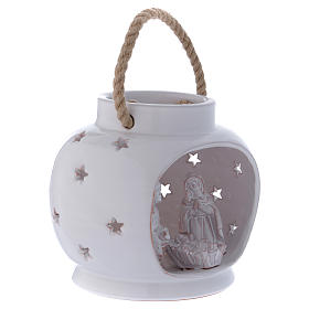 Glossy round white lantern with Holy Family in Deruta terracotta s3