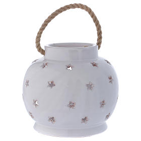 Glossy round white lantern with Holy Family in Deruta terracotta s4
