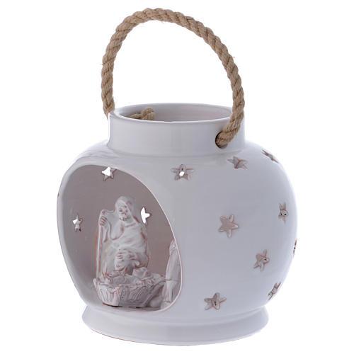 Glossy round white lantern with Holy Family in Deruta terracotta 2