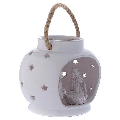 Lanterna tonda bianca lucida con Natività in terracotta Deruta 3