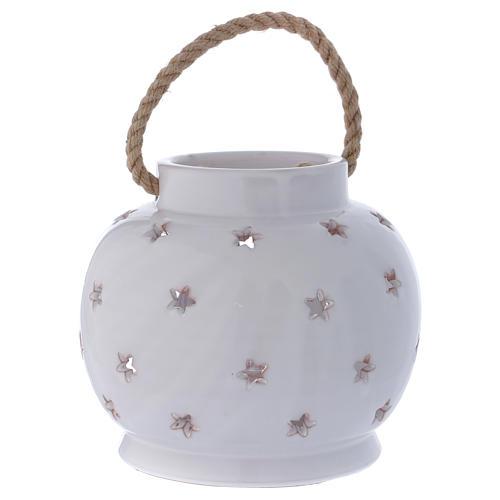 Lanterna tonda bianca lucida con Natività in terracotta Deruta 4