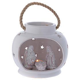 Presépio Terracota Deruta: Lanterna redonda branca brilhante com Natividade em terracota Deruta