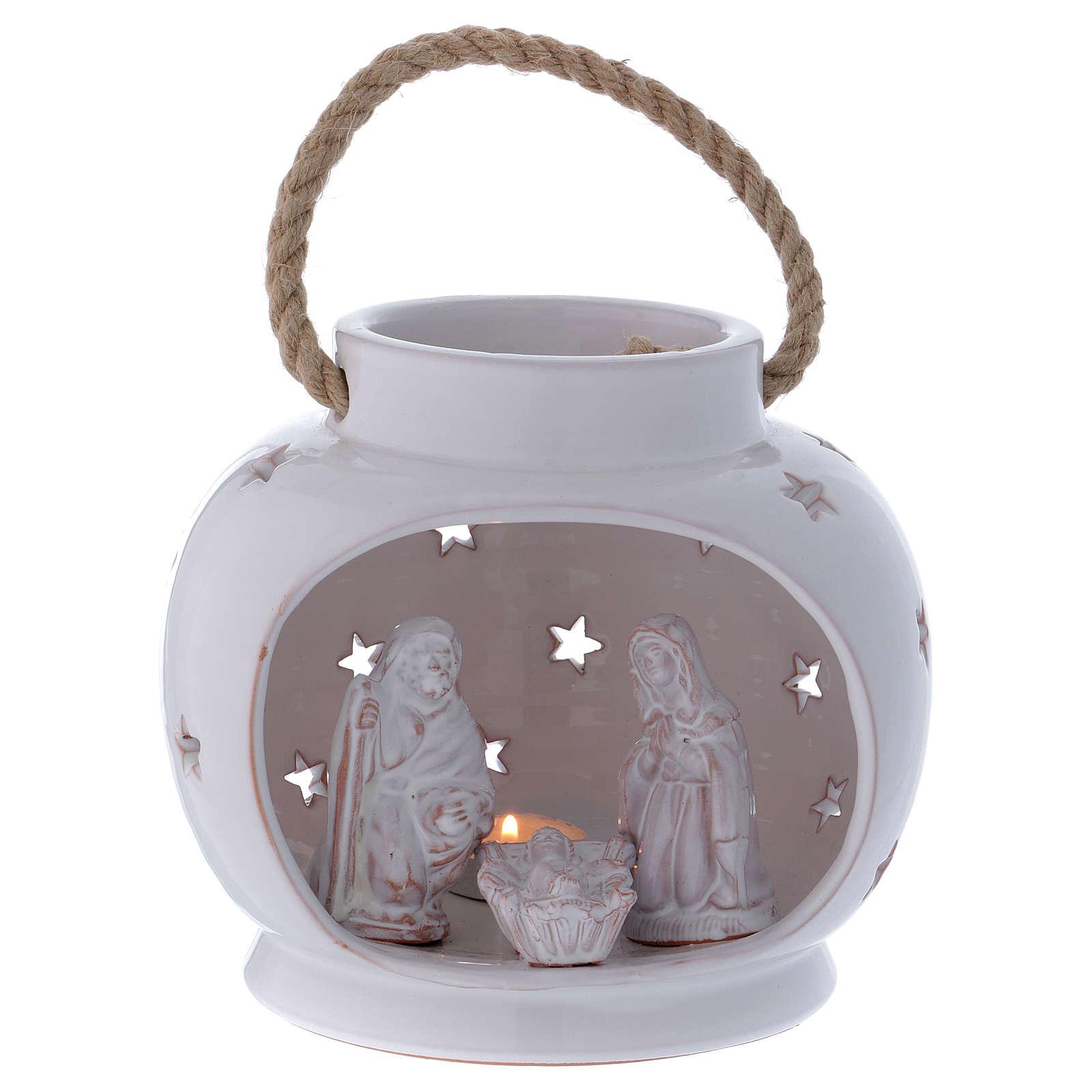 Round Lantern bright white with Nativity in Deruta terracotta 4
