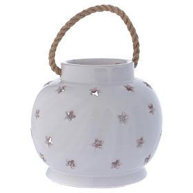 Round Lantern bright white with Nativity in Deruta terracotta s4