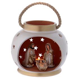 Presépio Terracota Deruta: Lanterna portátil cor-de-marifm e ouro com Natividade em terracota Deruta