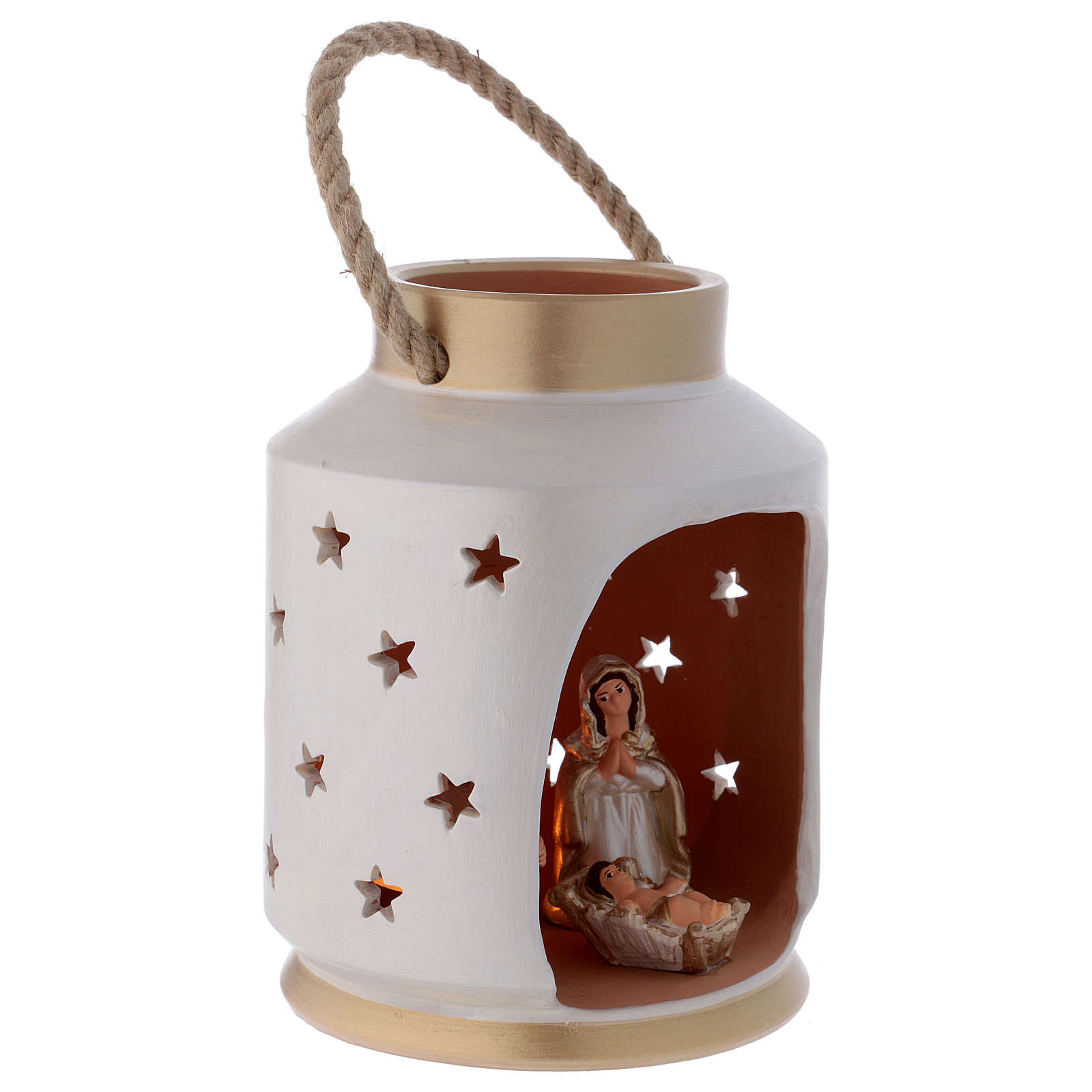 Ivory and gold cylindrical lantern with Holy Family in Deruta terracotta 4