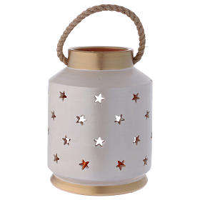 Ivory and gold cylindrical lantern with Holy Family in Deruta terracotta s4