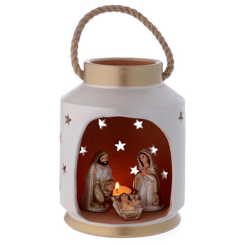Ivory and gold cylindrical lantern with Holy Family in Deruta terracotta 1