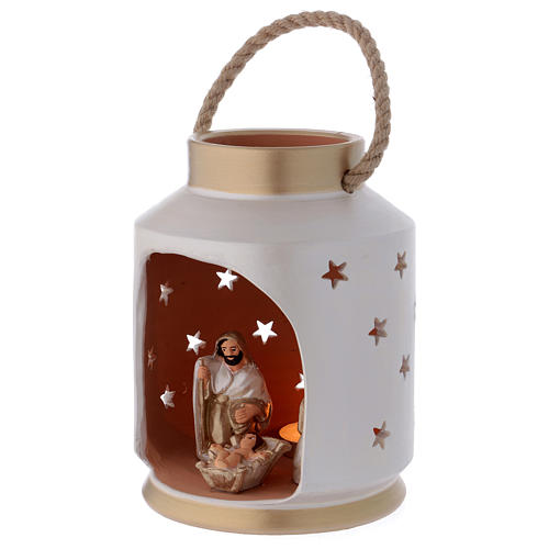 Ivory and gold cylindrical lantern with Holy Family in Deruta terracotta 2