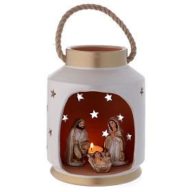 Presépio Terracota Deruta: Lanterna cilíndrica cor-de-marfim e ouro com Sagrada Família em terracota Deruta
