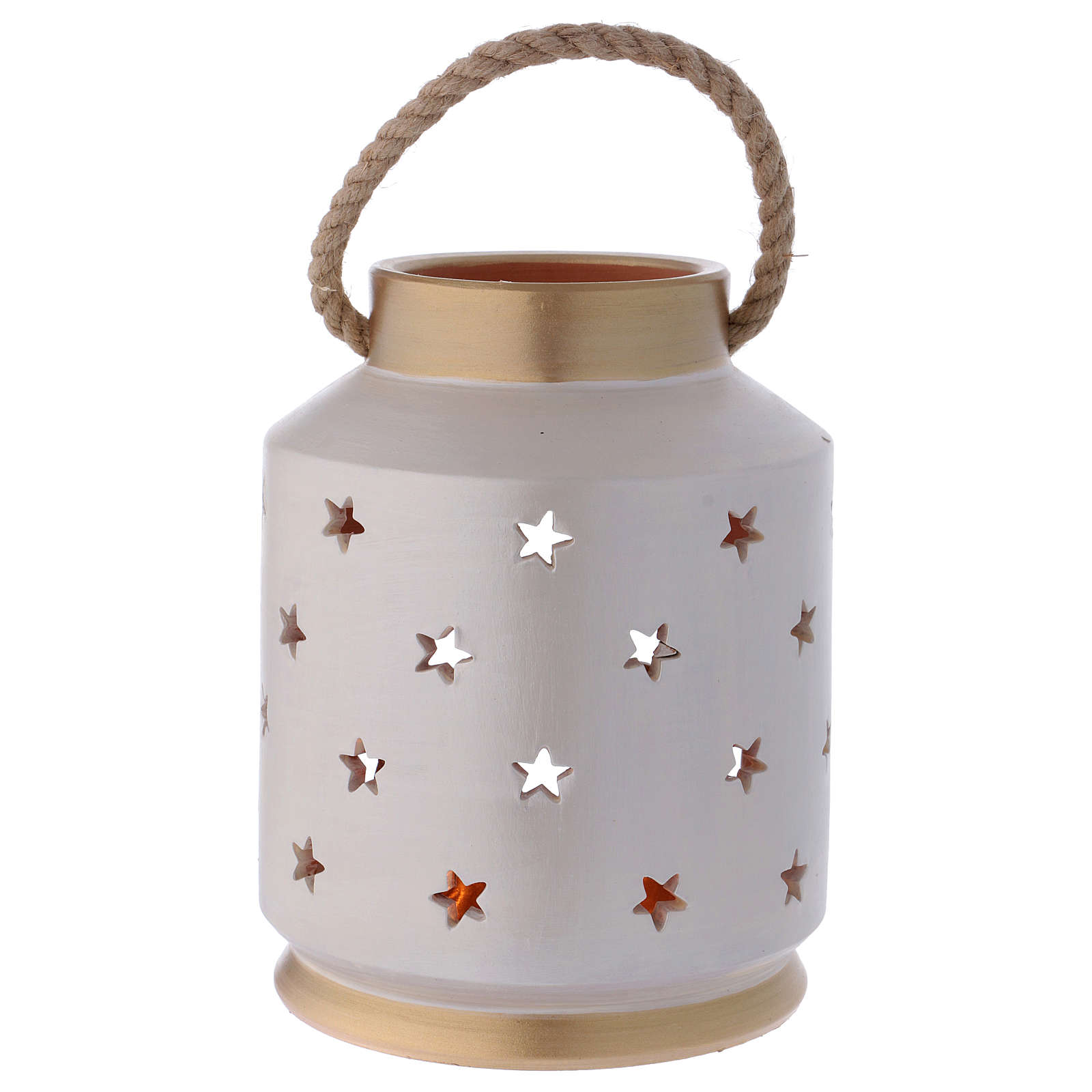 Cylinder Lantern ivory and gold with Sacred Family in terracotta Deruta 4