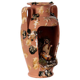 Anfora con presepe e lucina in terracotta Deruta 35 cm s4