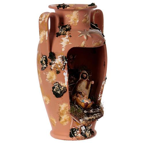 Anfora con presepe e lucina in terracotta Deruta 35 cm 4