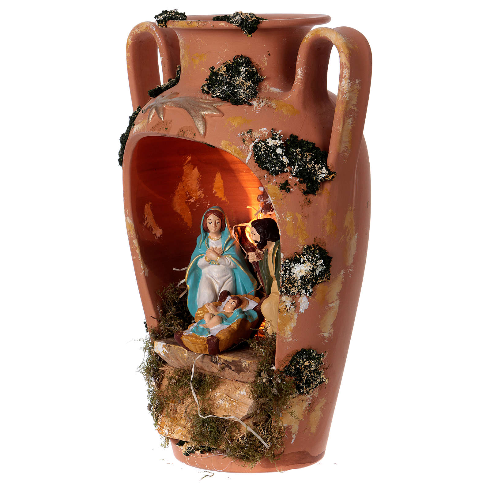 Ánfora con Natividad y luz de terracota Deruta 4