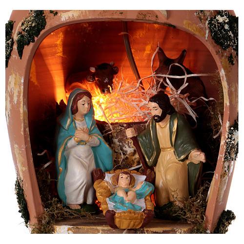 Ánfora con Natividad y luz de terracota Deruta 2