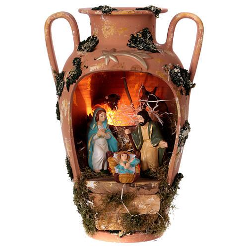 Anfora con Natività e lucina in terracotta Deruta 1