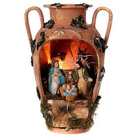 Presépio Terracota Deruta: Jarra com Natividade e luzinha em terracota Deruta